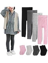 4 Pairs Girls Leggings Pants Sock Set Footless Knits Tights Stockings