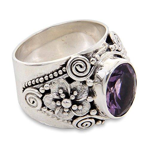 NOVICA Amethyst .925 Sterling Silver Floral Ring