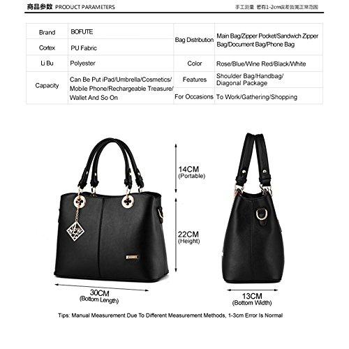 Ladies Crossbody Fashion BOFUTE Leather Shoulder Purse Womens Tote Black bag Handbag Bag FHWHqY74w