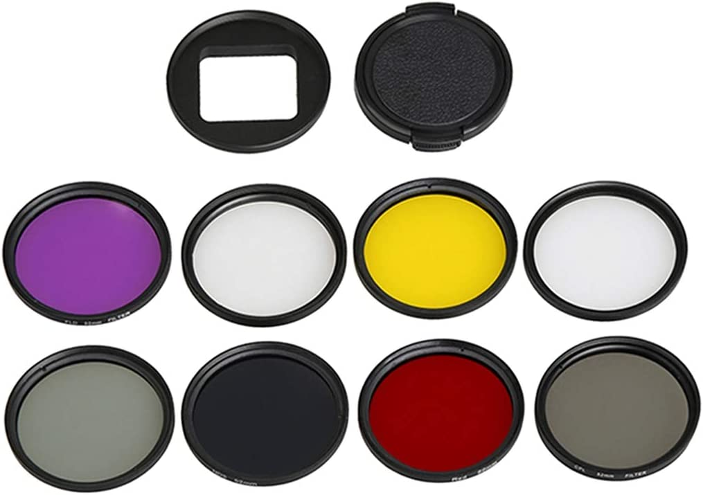 CPL + UV + ND8 + ND2 + Star 8 + Red + Yellow + FLD//Purple Lens Filter for GoPro HERO5 Sport Action Camera Proffesional 52mm Lens Filter /& Waterproof Housing Case Adapter Ring Camere Accessories