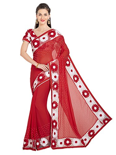 Viva N Diva Sarees For Women's Red Color Chiffon Broder Work Saree With Un-Stiched Blouse Piece,Free Size (Red Saree)