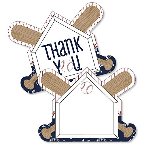 Batter Up - Baseball - Shaped Thank You Cards - Baby Shower or Birthday Party Thank You Note Cards with Envelopes - Set of 12