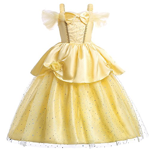 (Rizoo Little Girls Off Shoulder Maxi Dresses with Bow Princess Belle Costumes Birthday Party Evening Dress up (2T, Light)