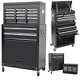 Summer Promotion Rolling Tool Cabinet with 8 Drawer and Removable Tool Box - Black