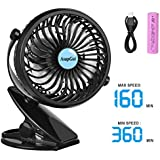 AsapGot Mini Battery Operated Clip Fan, Portable Table Fan Powered by 2600mAh Rechargeable Battery or USB, Quiet and Powerful Desk Personal Fan for Baby Stroller Car Gym Camping (Black)