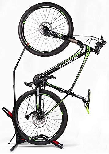 Hasit Bike Floor Stand Bike Rack Stand for Vertical/Horizontal Indoor Mountain Bike,Road Bike Storage - Space Saving - No Need to Damage Wall Black
