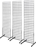 2' x 6' Grid Wall Panel Floorstanding Display Fixture with Deluxe T-Style Base, Black. Three-Pack Combo.