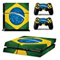 PS 4 Playstation 4 Console Skin & Remote Controllers Skin - Soccer Football Club Football Team - Brazil