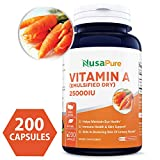 Best Vitamin A 25000IU Powder 200caps (Non-GMO & Gluten Free) Supports Vision, Growth, Reproductive Function, Immunity, Skin and Mucous Membranes - Made in USA - 100% Money Back Guarantee!