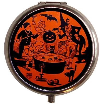 Vintage Halloween Scene Bobbing Apples Pill Box Pill case ()