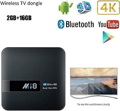 4K Smart TV Box Android 7.1 64Bits de Cuatro núcleos WFII 2G RAM 16G ROM Reproductor de Medios inalámbrico de 2,4 GHz Set Top Box Ultra HD: Amazon.es: Electrónica