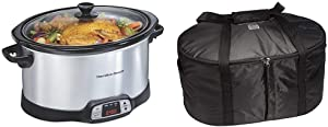 Hamilton Beach 8-Quart Programmable Slow Cooker With Digital Timer, Silver (33480) & Travel Case, Carrier Insulated Bag for 4, 5, 6, 7 & 8 Quart Slow Cookers (33002),Black