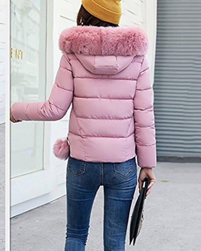 Con Acolchado Larga Pink De Cremallera Chaqueta Mujer Invierno Manga De Abrigo Corta Capucha wqpU88Zav