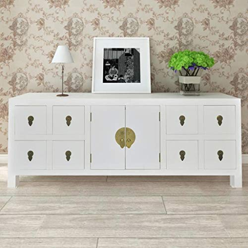48 Sideboard (Festnight High Gloss TV Stand with 8 Storage Drawers and 2 Doors Cabinet End Side Table Entertainment Center Living Room Home Office Furniture White)