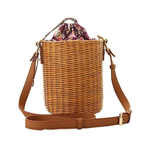 - New Rattan Bucket Handbag,YTAIK 2018 Lady Beach Shoulder Tote Travel Clutch Bohemian Straw Bags Women Summer Wicker Basket Bag (Brown)
