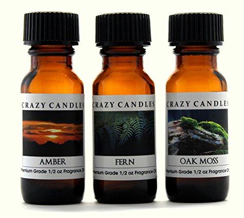 Crazy Candles 3 Bottles Set, 1 Amber, 1 Fern, 1 Oakmoss (Mild Scent) 1/2 Fl Oz Each (15ml) Premium Grade Scented Fragrance Oils By ()