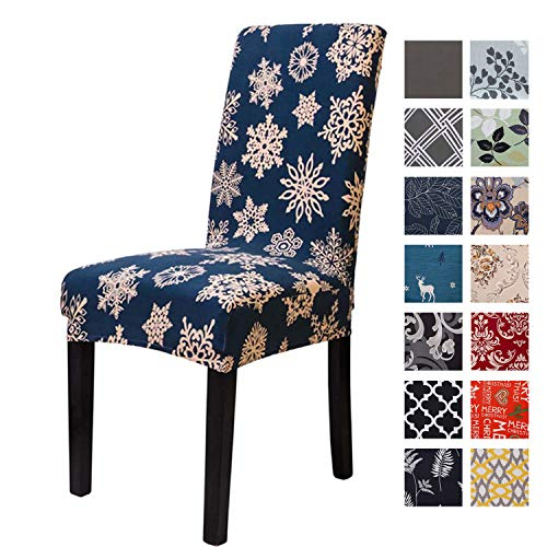 Printed Dining Chair Slipcovers, Removable Washable Soft Spandex Stretch Chair Covers Banquet Chair Seat Protector Slipcover for Kitchen Home Hotel (Blue Snowflake, Pack of 1)