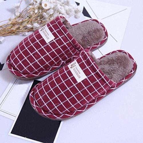 BZLine® Frauen Winter Stripe Indoor warm Hausschuhe Home Anti-Slip Soft Shoes Rot