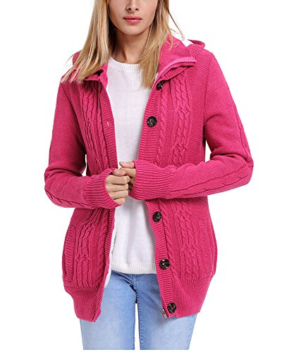 G-Fengshang Femmes Hoodie cable Tricot Bouton Down Fleece Cardigan Pull Manteau Rose