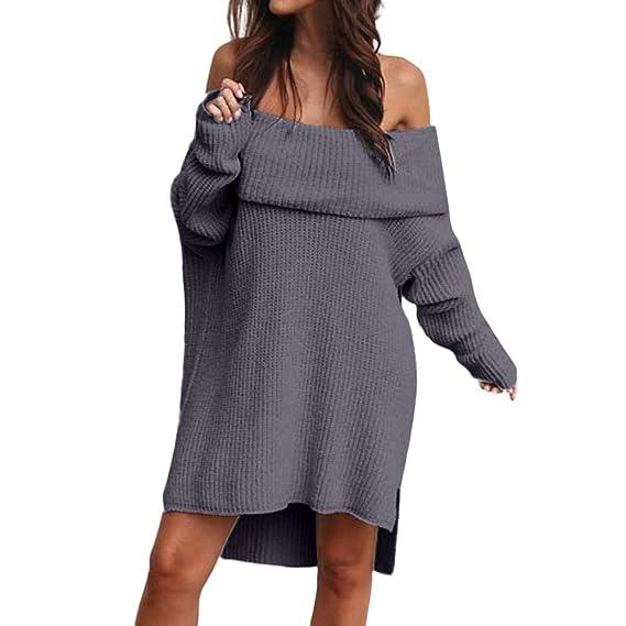 af381e35b351 SMILEQ Ausverkauf Damen Frauen Herbst Winter Mode Schulterfrei Langarm  Chunky Strickkleid Rollkragen Pullover Mini (S