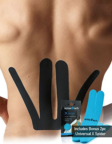 SpiderTech Precut Lower Back Kinesiology Tape with 2 Free X Spiders (Black) (Chiropractic Tape)
