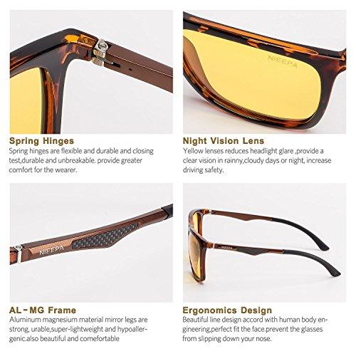 f79a50ca7f5 HD Night Vision Polarized Sunglasses Square Yellow Lens Aluminum Magnesium  Temple Spring Hinges Driving Sun Glasses