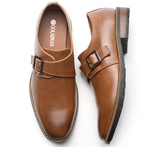 Men's Leather Oxford Dress Shoes Monk Strap Buckle Plain Toe Slip-On Loafer Brown 12 -