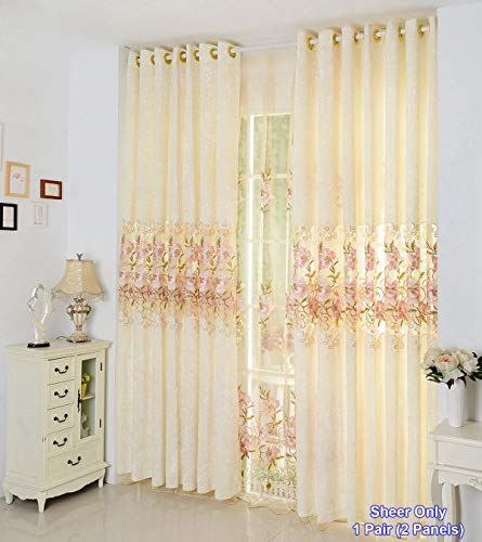 ZZCZZC 1 Pair (2 Panels) European Luxury Pink Flower Embroidery Sheer Curtains Rod Pocket Top Beige Tulle Voile Curtains Modern Clear Organdy Window Drapes for Sliding Glass Door W75 inch x L96 inch (Organdy Flowers)
