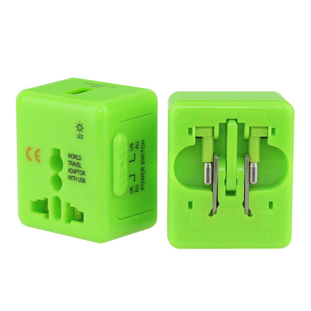 Universal Travel Adapter wonplug Worldwide All in One Universal Power Converters Wall AC Power Plug Adapter Multi Outlet with 1 USB Charging Ports for USA EU UK AUS Cell phone laptop