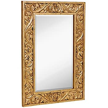 """Hamilton Hills Large Gold Antique Inlay Baroque Styled Framed Mirror 
