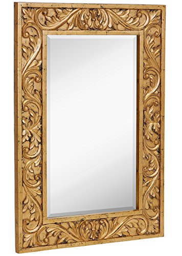 Large Gold Antique Inlay Baroque Styled Framed Mirror | Aged Elegant Rectangular Glass Wall Mirror | Vanity, Bedroom, or Bathroom | Hangs Horizontal or Vertical | 24