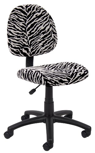 Boss Office Products B325-ZB Perfect Posture Delux Microfiber Task Chair without Arms in - Zebra Microfiber
