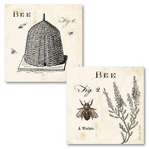 Gango Home Décor Classic Vintage Ephemera Bee and Bee Hive Print Set; Two 12x12in Paper Poster Prints