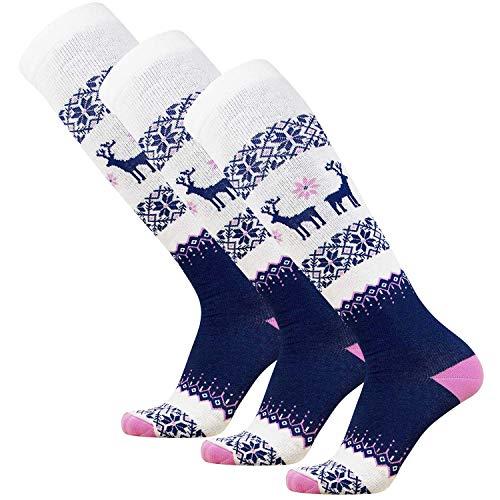 - Pure Athlete Warm Ski Socks - Sweater Deer Sock for Skiing - Merino Wool Winter, Snowboard