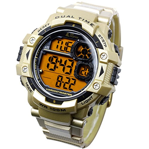 ([LAD WEATHER] Military Watch/Stopwatch/Pacer Function Watch/Outdoor/100m Water Resistant Men's Watch (Black) (black1) (gold2))