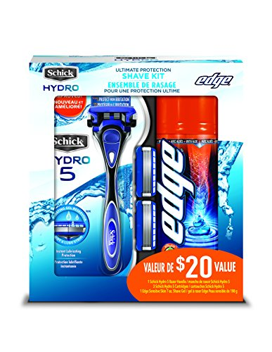 Schick Hydro 5 Holiday Value Pack for Men with 1 - Hydro 5 Razor for Men, 3 - Hydro 5 Razor Blade Refills for Men and 1 - Edge Sensitive Skin Shave Gel for Men (Limited Time Only)