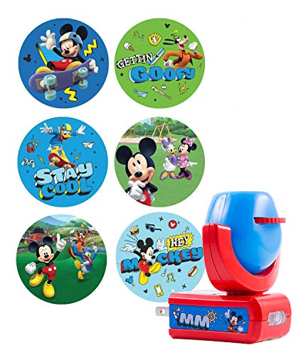 (Projectables 11739 Mickey Mouse & Roadster Racers 6-Image LED Night Light Projector, Plug-in, Dusk-to-Dawn Sensor, Auto Disney Characters on Ceiling, Wall, or Floor, Blue/Red, 117, Multi)