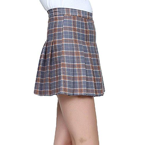 Carreaux Court Femmes sous Haute Jupe Gris Jupes Cosplay Taille Jupe Plisse Juleya Vent Mini Rfq8p8