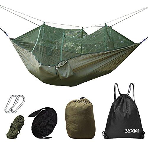 SZXKT Camping Double Hammock Mosquito Net Outdoor Hammock Travel Bed Lightweight Parachute Fabric Double Hammock,...