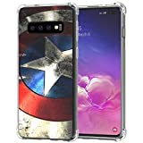 Galaxy S10+ Plus Case, Ailiber S10Plus Captain America's Shield Super Hero Red Retro Thin Light Design Shock Absorption Soft TPU Bumper Protective Cover for Samsung Galaxy S10+ 6.4 in- Captain Shield