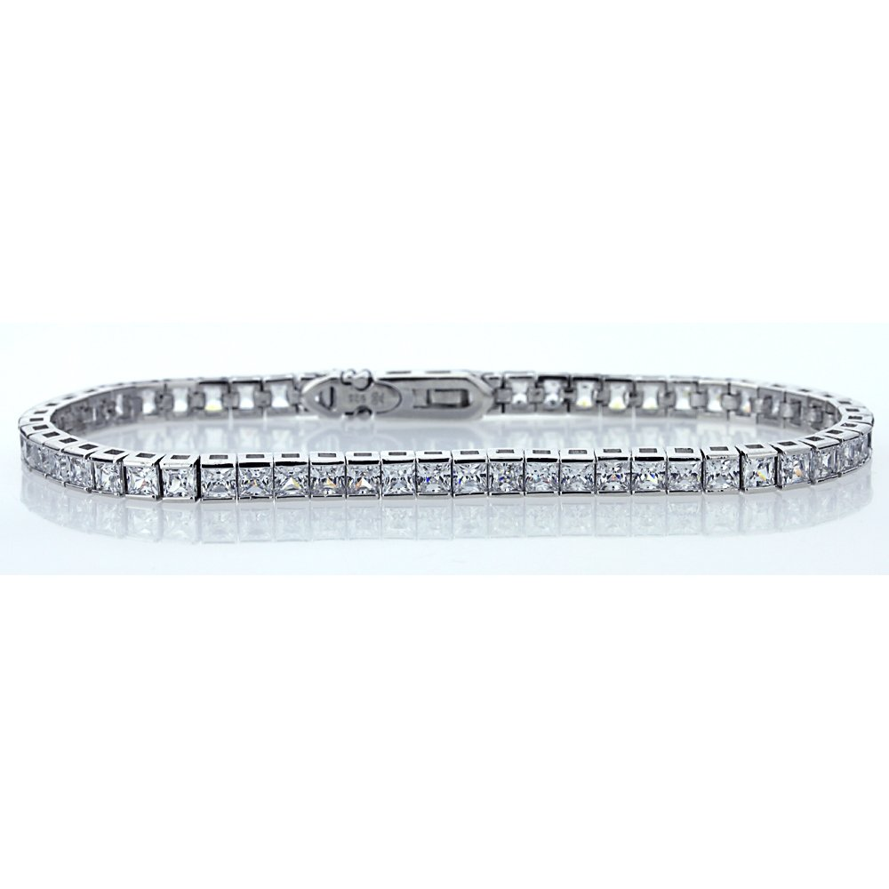 Sterling Silver Rhodium Plated 3mm Princess Square Cut Cubic Zirconia Womens Tennis Bracelet