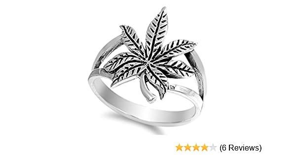Amazon Com Prime Jewelry Collection Sterling Silver Women S Leaf Weed Ring Sizes 4 13 Jewelry