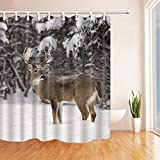 KOTOM Wild Animals Shower Curtains for Bathroom, White Tailed Deer Buck Stands in Winter Landscape, Polyester Fabric Waterproof Bath Curtain, Shower Curtain Hooks Included, 69X70in