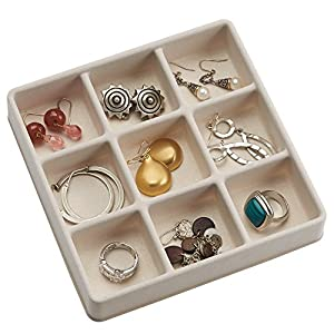 InterDesign 3 Drawer Jewelry Earrings Necklaces Bracelets Organizer Holder Box, Clear/Ivory