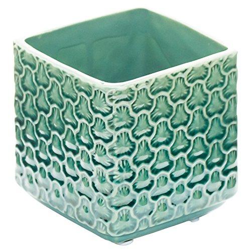 Flower/Bud Stoneware Vase,Japanese Wa-Monyo Design,Greenish Blue,3.9 inches - Japanese Stoneware