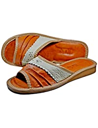 Womens Genuine Sheepskin Leather Tan House Slippers Slides Flip-Flop Soft Insole