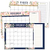 Navy Floral 2019-2020 Large Monthly Desk or Wall Calendar Planner, Big Giant Planning Blotter Pad, 18 Month Academic Desktop, Hanging 2-Year Date Notepad Teacher, Family Home or Business Office 11x17""