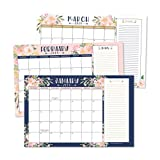 Navy Floral 2019-2020 Large Monthly Desk or Wall Calendar Planner, Big Giant Planning Blotter Pad, 18 Month Academic Desktop, Hanging 2-Year Date Notepad Teacher, Family Home or Business Office 11x17\