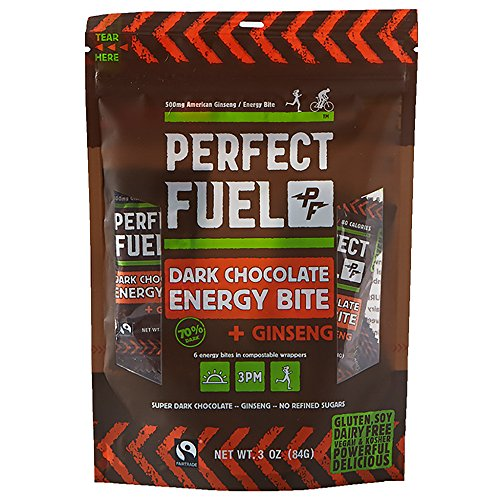Perfect Fuel Chocolate Dark Chocolate Energy Bite, Ginseng, 3 Ounce