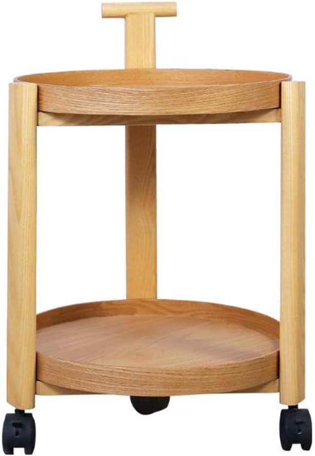 100% Origineel MBZL bijzettafel, koffietafel, 2 lagen, klein bijzettafel, salontafel, rond, creatief massief hout, comfortabel klein nachtkastje met pulley-bijzettafel, verwijderbaar Light Wood iVAaQAR
